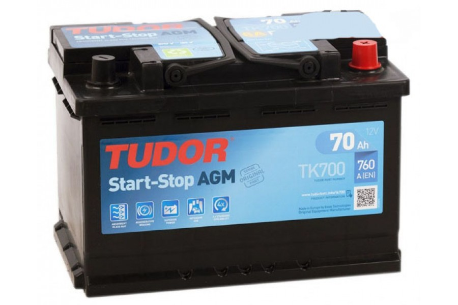 Аккумулятор TUDOR Start-Stop AGM TK700 70  A/h 760A R+