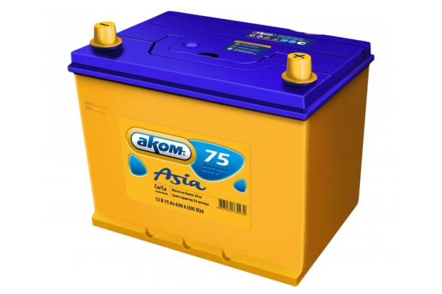 Аккумулятор AKOM Asia 75  A/h 630A L+