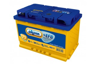 Аккумулятор АКОМ EFB 6СТ-75 Евро