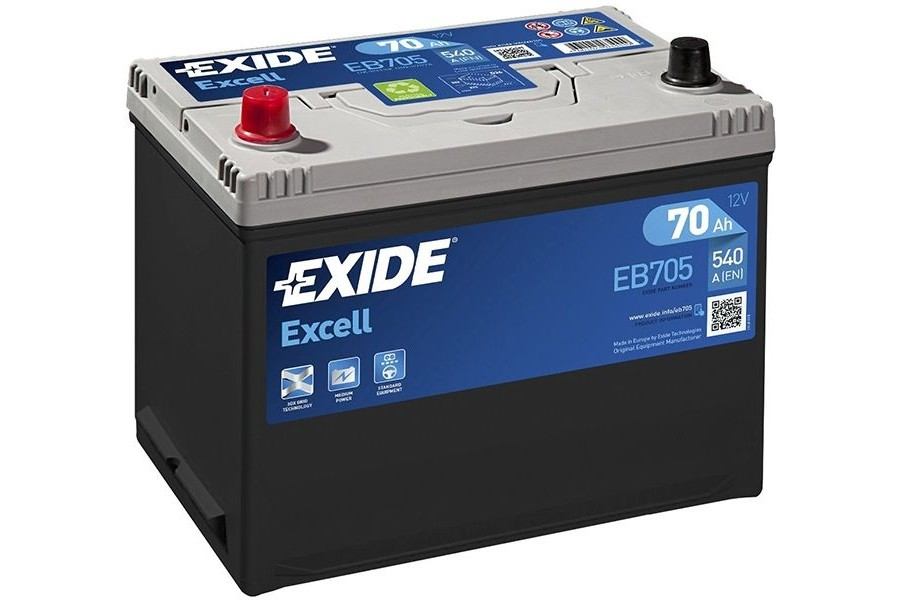 Аккумулятор Exide Excell EB705 (70  A/h), 540A L+