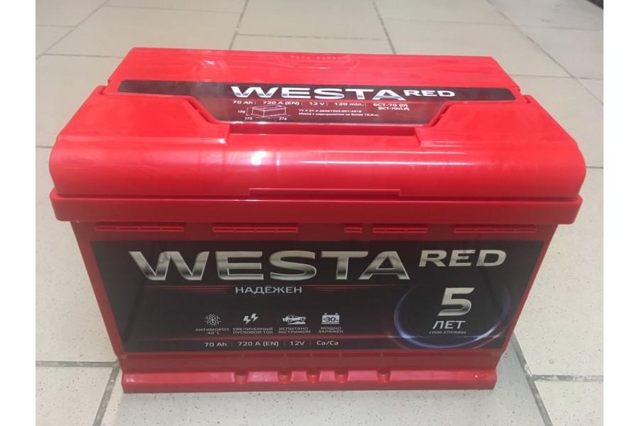 Аккумулятор Westa RED 70 R+ 720A ОТ 1-го ПОСТАВЩИКА
