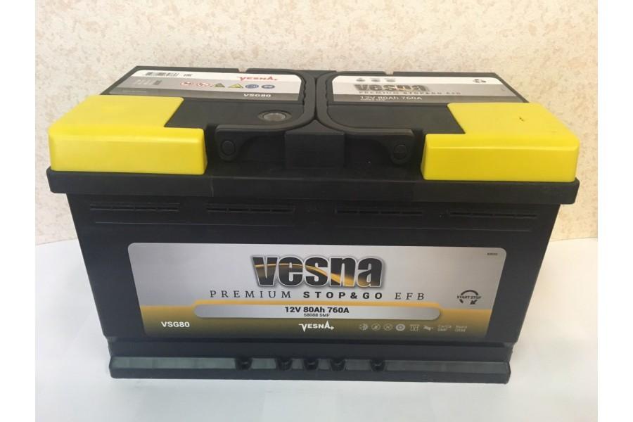 Аккумулятор VESNA EFB 80  A/h R+ 760A