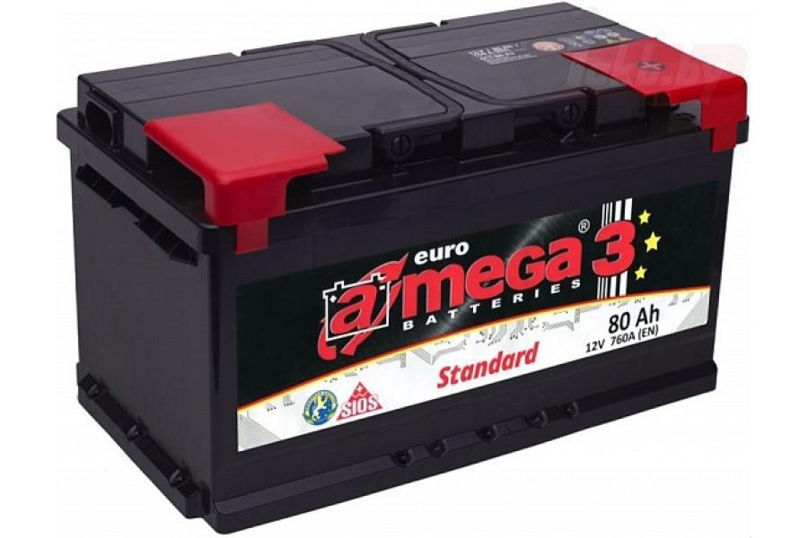Аккумулятор A-mega Standard 6СТ-80 80 A/h 760A R+