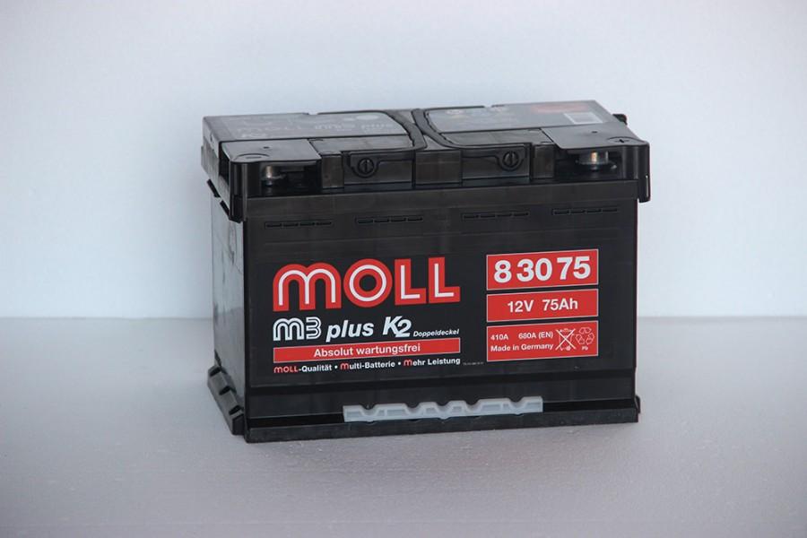 Аккумулятор Moll M3 Plus 75   A/h 680A (EN) ОТ 1-го ПОСТАВЩИКА