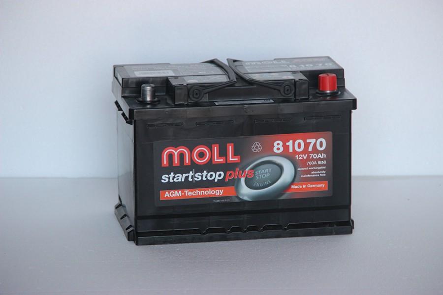 Аккумулятор Moll Start-stop AGM 70  A/h 760(EN) ОТ 1-го ПОСТАВЩИКА