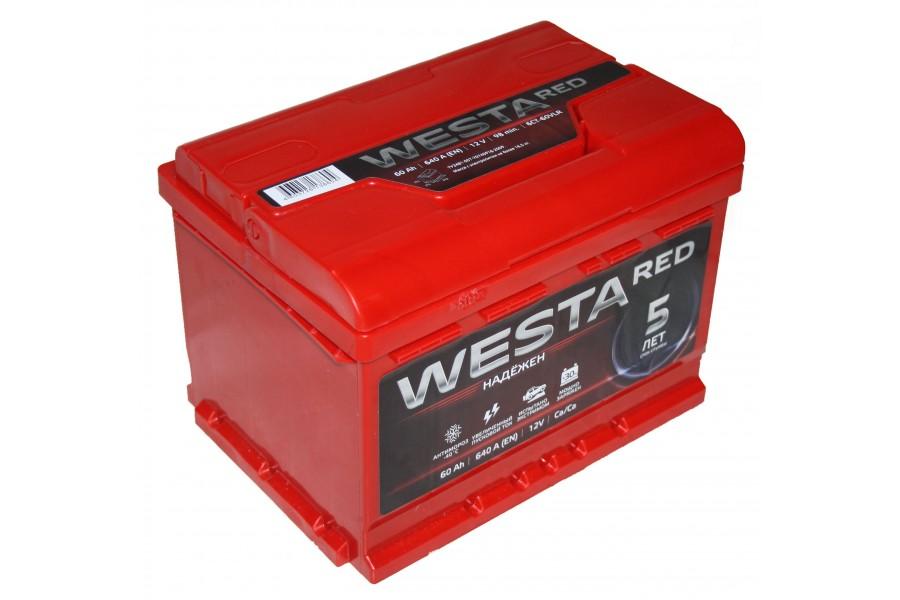 Аккумулятор Westa RED 60  A/h 640A ОТ 1-го ПОСТАВЩИКА