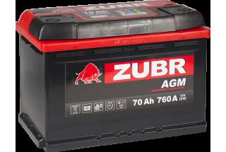 Аккумулятор Zubr AGM 70A/h 760A R+