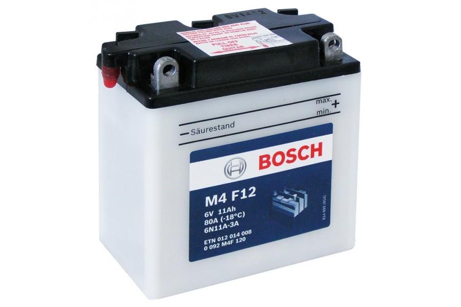 Аккумулятор Bosch M4 F12 012 014 008 (12 A/H), 80A R+ 6V, 6N11A-3A