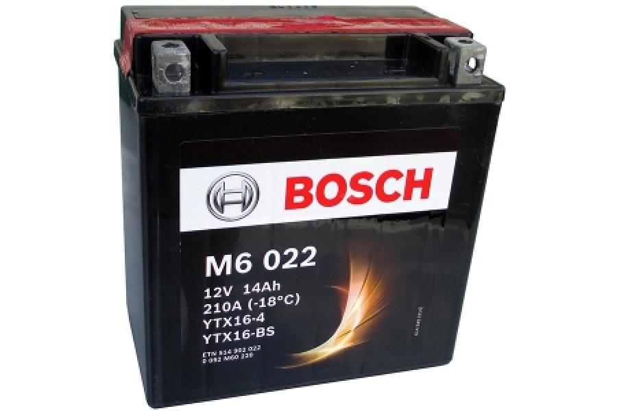 Аккумулятор Bosch M6 022 514 902 022 (14 A/H), 210A, YTX16-BS / YTX16-4