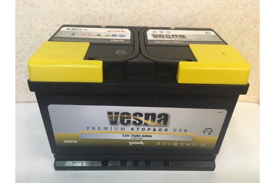 Аккумулятор VESNA EFB 70  A/h R+ 680A